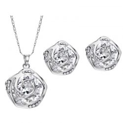 Zircon Czech Rhinestone Platinum &Rose Gold Color Jewelry Sets for Women