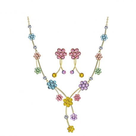 MADE WITH SWAROVSKI ELEMENTS Rhinestone Jewelry Set Colorful Flower Design