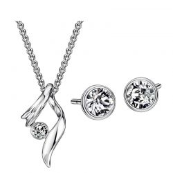 Geometric Style Alloy Plated Classic Necklaces & Earrings For Lady  Austria Rhinestone Jewelry Set