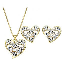 Austria Rhinestone Jewelry Set Romantic Heart Style Light Yellow Gold Color