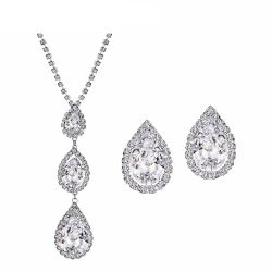 Zircon Czech Rhinestones Water Drop Necklace Earrings Wedding Jewelry Sets
