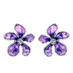 Austria Rhinestone Imitation Enamel Colorful Flowers Stud Earrings For Girls