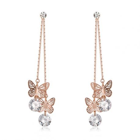2018 New Rose Gold Color Hollow Out Erfly Long Dangle Earrings Shiny Zircon