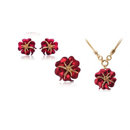 Gold Crystal Rhinestone Navy Blue/Red Sea Starry night Flower Jewelry Set