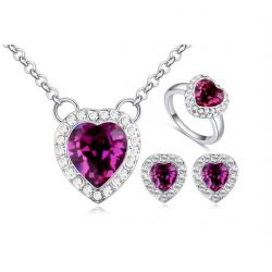 Love Heart Shape Crystals from SWAROSVSKI ®  fashion Jewelry Set