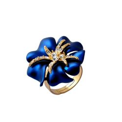 Gold Crystal Rhinestone Navy Blue/Red Sea Starry night Flower Ring