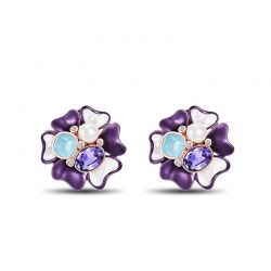 Pretty PuGIFTrple & White Crystal Flower Stud Earrings