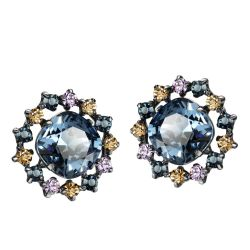 MADE WITH SWAROVSKI ELEMENTS Crystal Titanium Needle Nickle Free Stud Earrings for Women