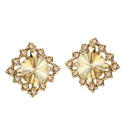 Light Yellow Gold Color Titanium Needle Austria Rhinestone Stud Earrings for Women
