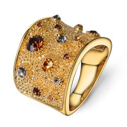Rhinestone Crystal Double Cuff Cocktail Ring 18K GP gold plated