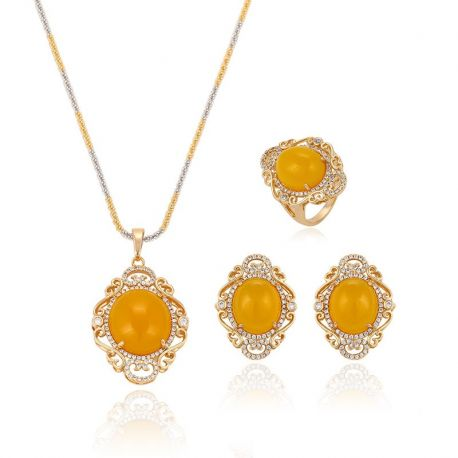 18K gold color Yellow Big opal stone Fashion Jewelry set