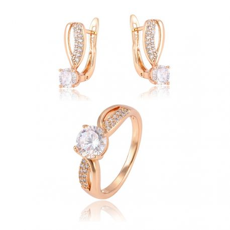 Elegant Earring and Ring 18K gold color Fashion Jewelry set