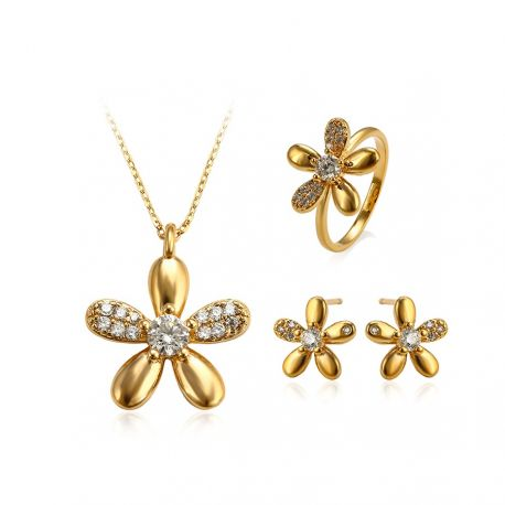 Flower Yellow gold toned Ring Earring Pendant Jewelry set for Girls