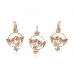 Beautiful Butterflies 18K gold toned Big Dangle earring Pendant Jewelry Set