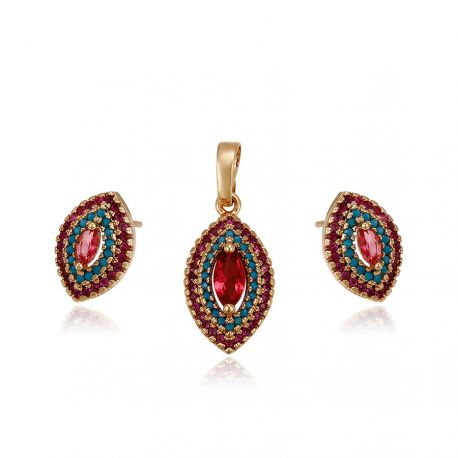 Stud Dangle Red zircon 18K Gold toned Fashion Jewelry set