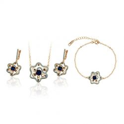 18K gold toned Fashion Bracelet Pendant Earring set for Women