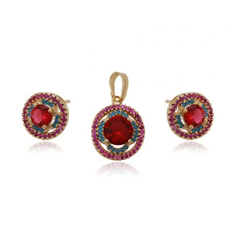 Round shape red zircon 18K gold toned jewelry set for women
