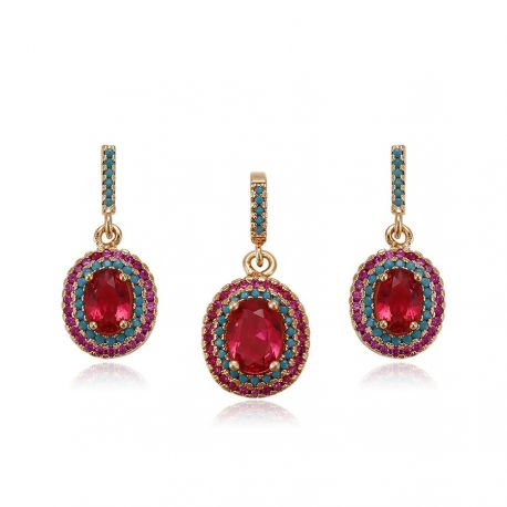 Earring and Pendant 18K gold color Fashion Jewelry set