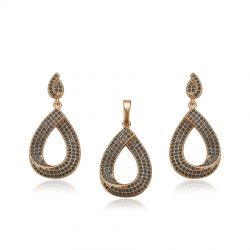 18K gold toned Water drop shape Fashion Jewelry set