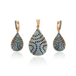 18K gold toned Back clip  earring & Pendant Jewelry Set