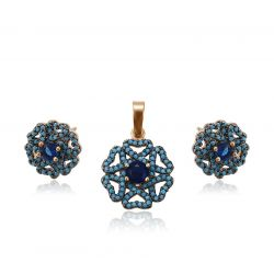 Blue Flower Yellow gold toned Ring Earring Pendant Jewelry set for Girls