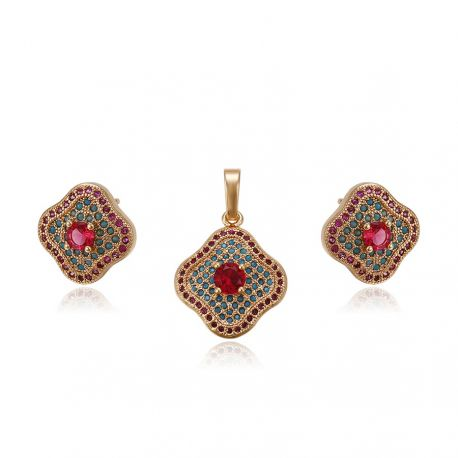 Red Zircon 10K gold tones Earring and Pendant set for Women