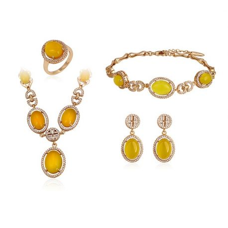 Yellow and White Cat eye stone 18K gold tone Set for Women