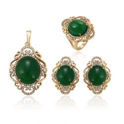 18K gold color Green Big opal stone Fashion Jewelry set