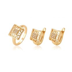 18K Gold toned Square shape Fashion Jewelry set for Women