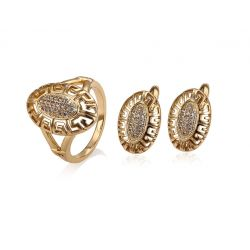 Oval shape 18K gold toned Cubic zircon  Fashion jewelry set