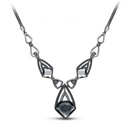 Gun Plated Geometric Chain Necklaces of Crystal & Rhinestone
