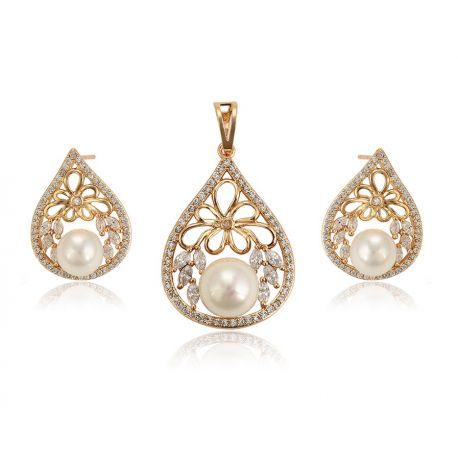 Simulated Pearl 18K gold toned Cubic zircon Jewelry set