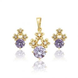 3 flower shape 18K gold toned Cubic zircon Jewelry set