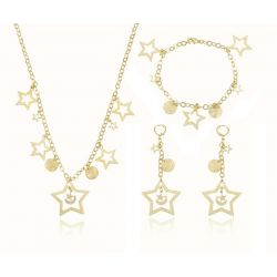 Metallic Star Moon Sun shape 18K gold color Fashion Jewelry set