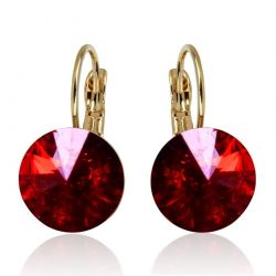 Red Austrian Crystal Round Stone Earring Bella Red Gold & Platinum plated