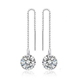 Solid Silver Long Dangle Earring for Girls