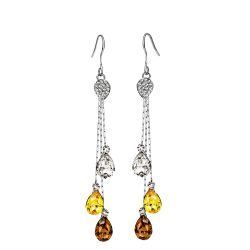 3 colors  Crystals from Swarovski  Dangle Rhodium Plated Earring
