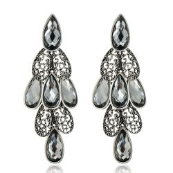 Black Rhinestone Vintage Crystal Drop Earrings