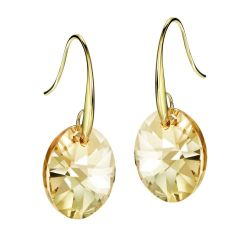 Austrian Crystal Light Yellow Gold Color Drop Earrings