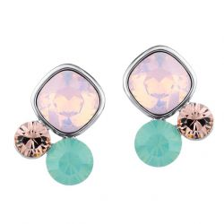 Flower shapes 3 tones crystal Fashion earrings for Girl