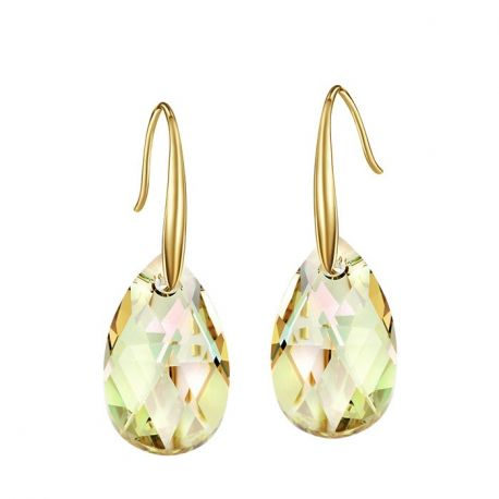 Yellow Gold Color Toned Austrian Cryst fashion Earringsal
