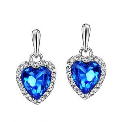 Heart Love Blue Crystal Rhinestone Dangle Drop Earrings