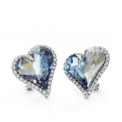 Heart Love Clip Earrings Blue Austrian Crystal Auden Rhinestone