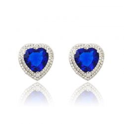 AAA Zircon Blue and White Color Stud Earrings