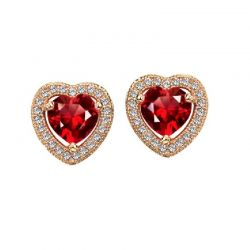 Rose Gold Color Crystal Zircon Love Stud Earrings For Women