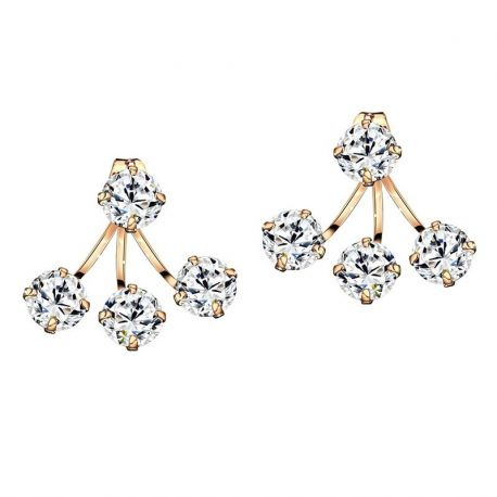 AAA Zircon Rose Gold Color Double Stud Earrings