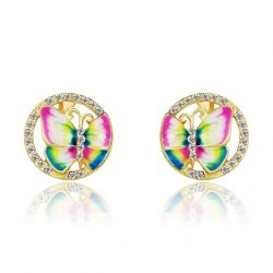 Stud Earring for Teen Girls Enamel Butterfly