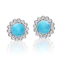 Fashion Stud Earring Blue Turquoise and  Czech  Rhinestone