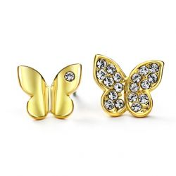 Butterfly Stud Earrings Yellow Gold Color Austrian Crystal