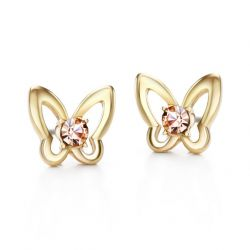 Alloy Czech Rhinestone Butterfly Stud Earrings Women